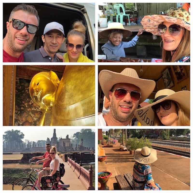 Alcune immagini del tour: il mercato galleggiante, Wat Po, Sukhothai e in attesa del treno sulla ferrovia della morte.